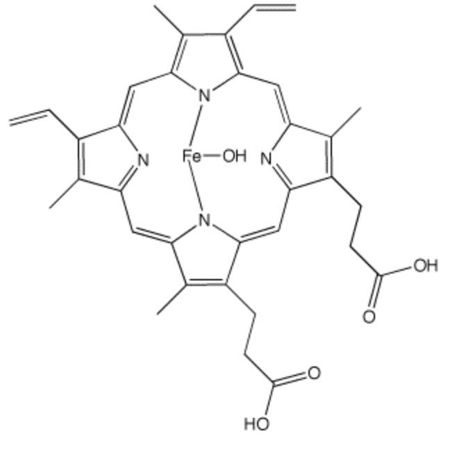 ・ヘマチンは主に豚の血液中のヘモグロビンからグロビンを分離したもの。髪のケラチンへの強い結合力により、毛髪補強,脱毛の抑制,活性酸素除去,チオグリコール酸(パーマ)臭除去,染毛促進など、幅広い有効性を与える。近年、過酸化水素の除去能が白髪の抑制に役立つ可能性も取り沙汰されている。