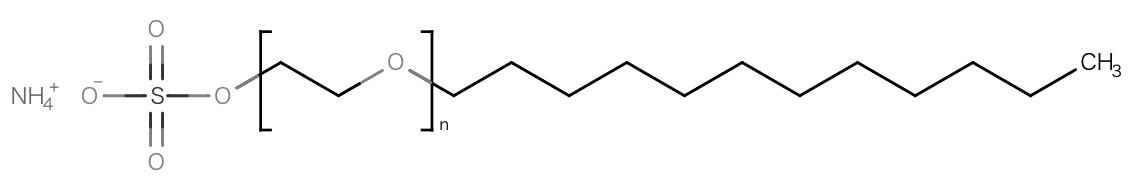 ラウレス硫酸アンモニウムです。強い脱脂力、泡立ちが特徴で、やや感触はマイルドながらクレンジング力を発揮する。浸透性は低いので、皮膚刺激性はあまり心配がいらないが、肌の表面を強く洗浄することから、肌の弱い方の継続使用は控えるべき。